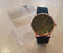 Groen suédine horloge #6