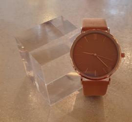 Okergeel suédine horloge #16