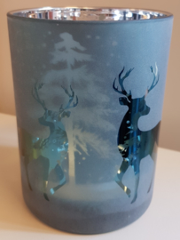 Luxe Windlicht Deer Blue