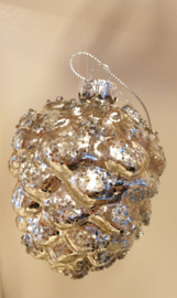 Kerstbal Pinecone champagne #028