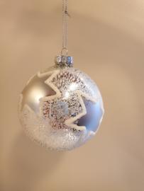 Kerstbal White Stars #023