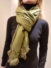 Sjaal Bontbolletjes Groen