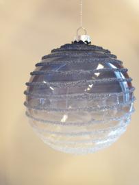 Kerstbal Blue Clear Spiral #020