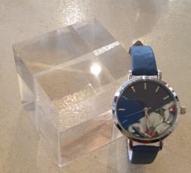 Blauw Horloge met bloem #1