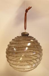 Kerstbal Spiral Clear Brown #015