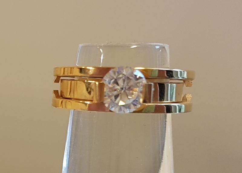 Stainless Steel ring goud. Dubbel