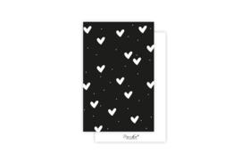 Mini-kaart | Hartjes wit | 5 stuks