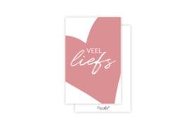 Mini-kaart | Veel liefs roze | 5 stuks