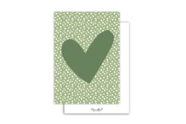 Kaart | Hart groen | 5 stuks