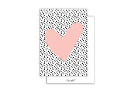 Kaart | Hart roze | 5 stuks