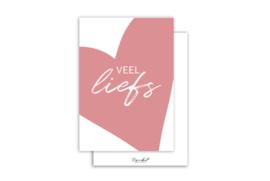 Kaart | Veel liefs roze | 5 stuks