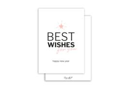Kaart | Best wishes roze | 5 stuks