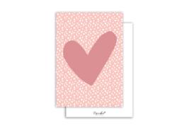 Kaart | Hart donker roze | 5 stuks