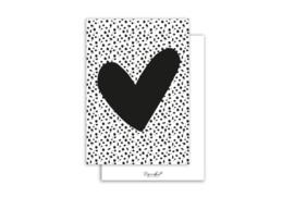Kaart | Hart zwart | 5 stuks