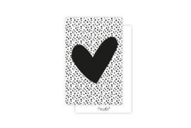 Mini-kaart | Hart zwart | 5 stuks