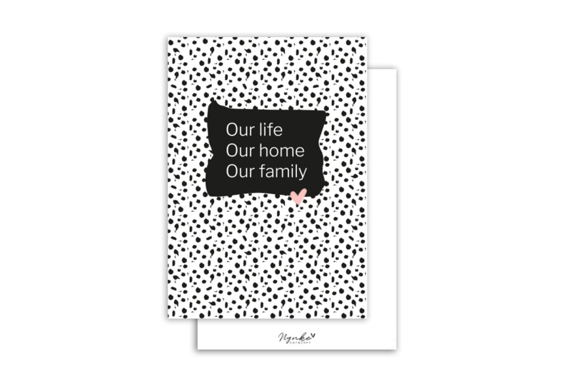 Kaart | Our life Our home Our family | 5 stuks