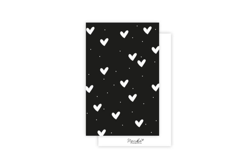 Mini-kaart   Hartjes wit   5 stuks