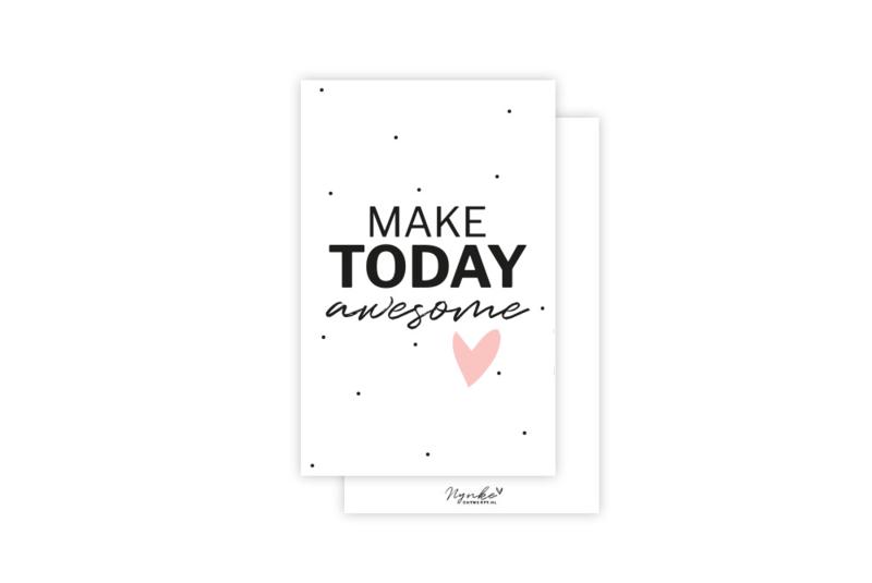 Mini-kaart   Make today awesome   5 stuks