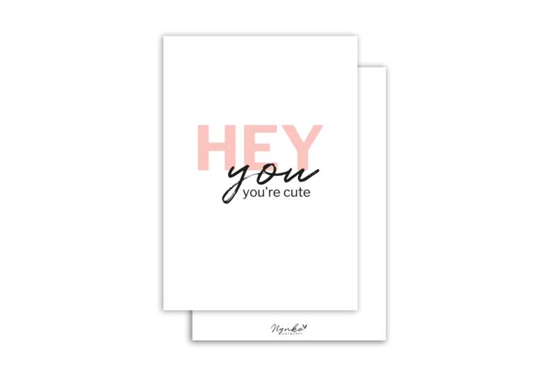 Kaart | Hey you you're cute | 5 stuks