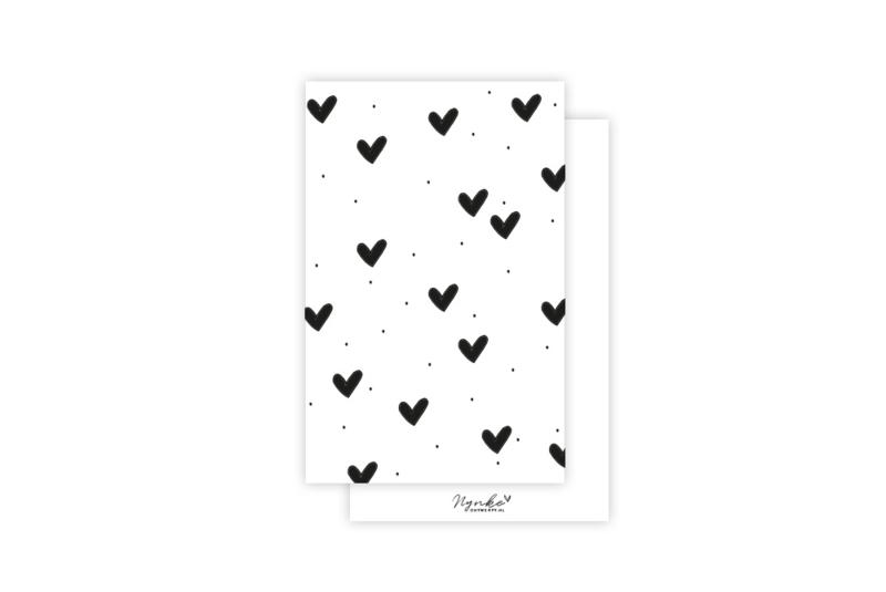 Mini-kaart | Hartjes zwart | 5 stuks