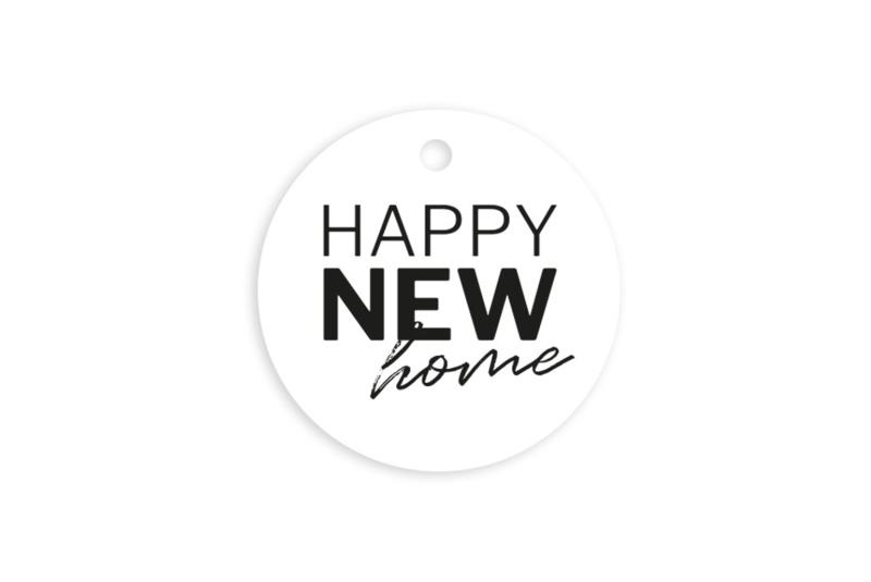 Kadolabel | Happy new home | 5 stuks