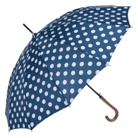 paraplu blauw met witte stip