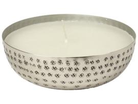 kaars in schaal zilver ø15 cm