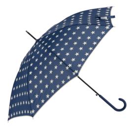 paraplu blauw met crème ster