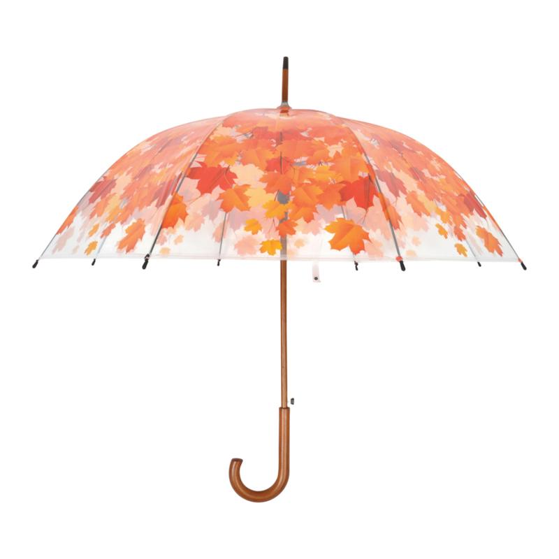 paraplu transparant bladeren herfst