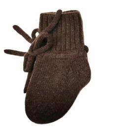 Merino wol booties dark brown