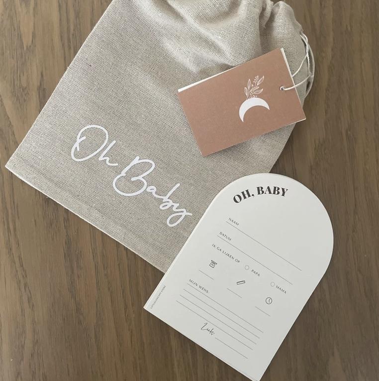 Invulkaarten & linnen zakje | oh baby
