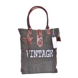 Canvas vintage tas met ster Green