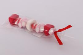 Snoep Spekbrochette roze/wit