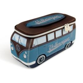 VW T1 Bus 3D universele tas - petrol/bruin groot