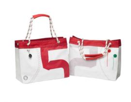 Tas met hengsels van touw rood/wit