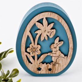 Decoratief houten ei (petrol)
