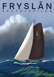 Ansichtkaart Fryslân skûtsjesilen