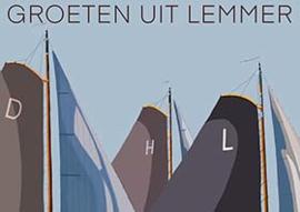 Ansichtkaart Groeten uit Lemmer (meerdere skûtsjes)