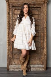 Short Dress Ella Ecru/White