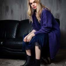 Knit Evelina  Cardigan Purple