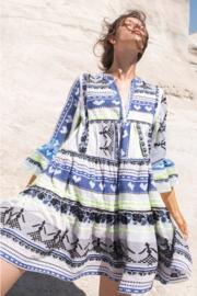 Short Dress Off White/Blue