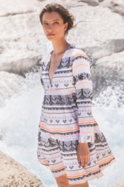 Short Dress Sapho Off White/ Orange