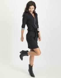 Jane Lushka Leah Zipper and Stripes Dress Black