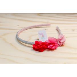 Diadeem Leyda roze bloemen