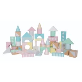 Houten bouwblokken pastelkleuren