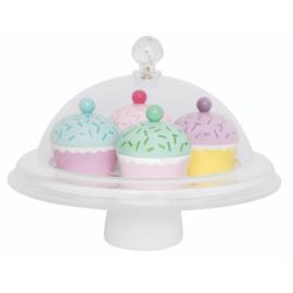 Speel set cupcakes met stolp