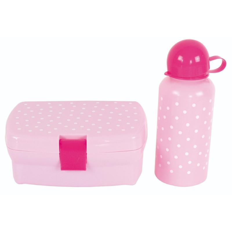 Broodtrommel & drinkfles roze