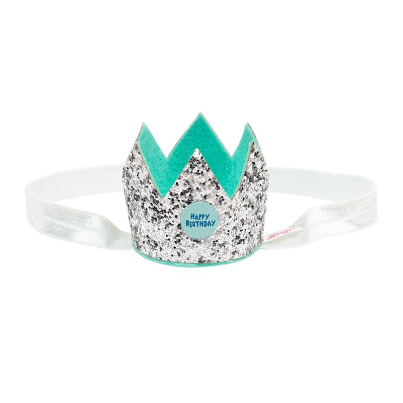 Verjaardagskroon zilver op elastieken haarband in cadeaudoosje