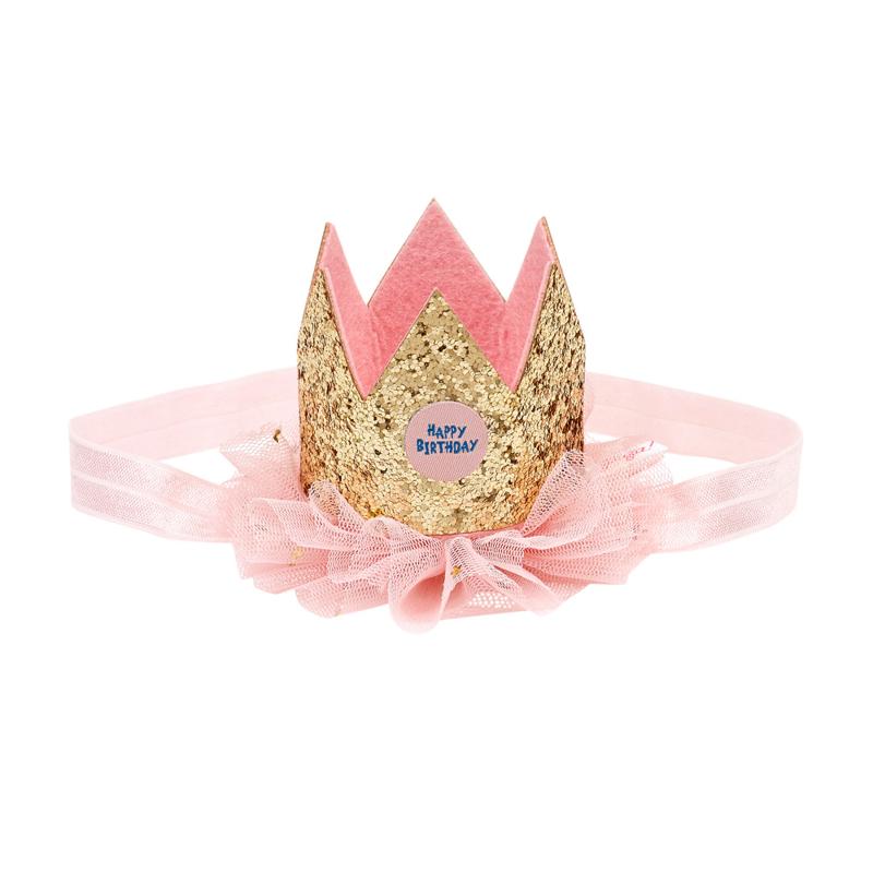 Verjaardagskroon goud op elastieken haarband in cadeaudoosje