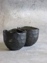 Waxinehouder carved bowl black/grey